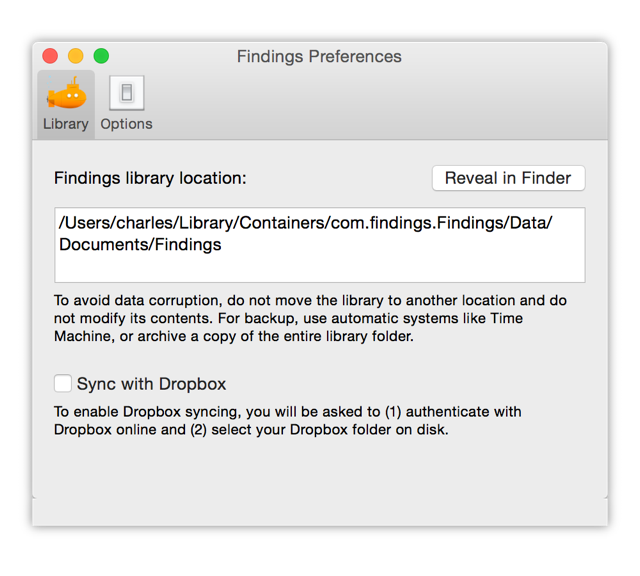 Revealing your Findings library in Finder via the Preferences window